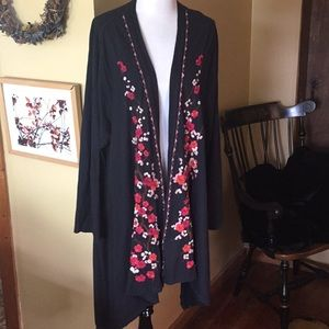 JOHNNY WAS size 3x Cherry Blossom open Cardi tunic